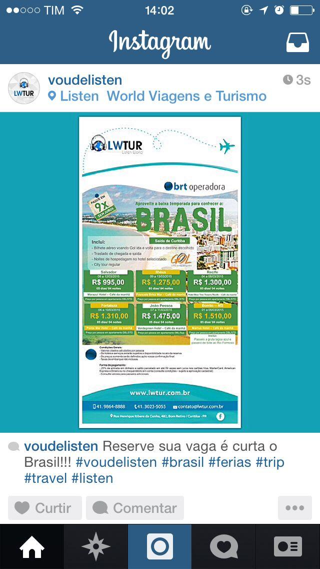 É hora de conhecer o Brasil com a Listen... Reserve já... 41-9864-8888 #voudelisten
