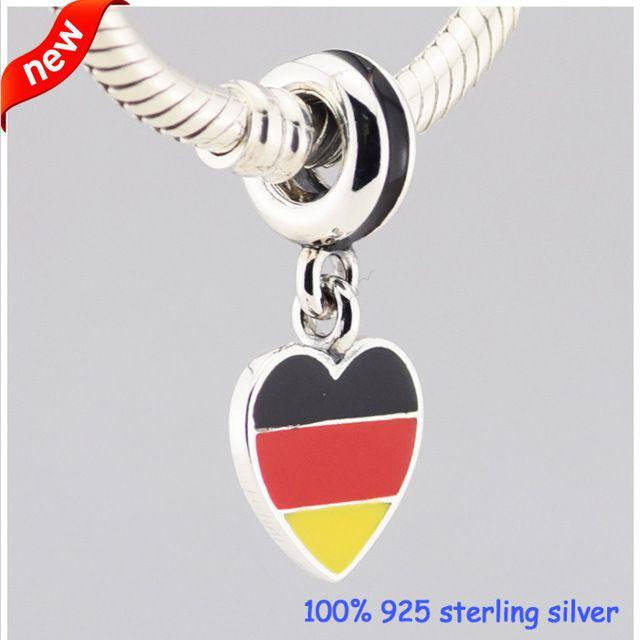 Германия флаг сердце Серебряные Подвески Лето Новый Стиль 925 Стерлингового Серебра Бисер DIY Ювелирных Изделий Оптовая 09234