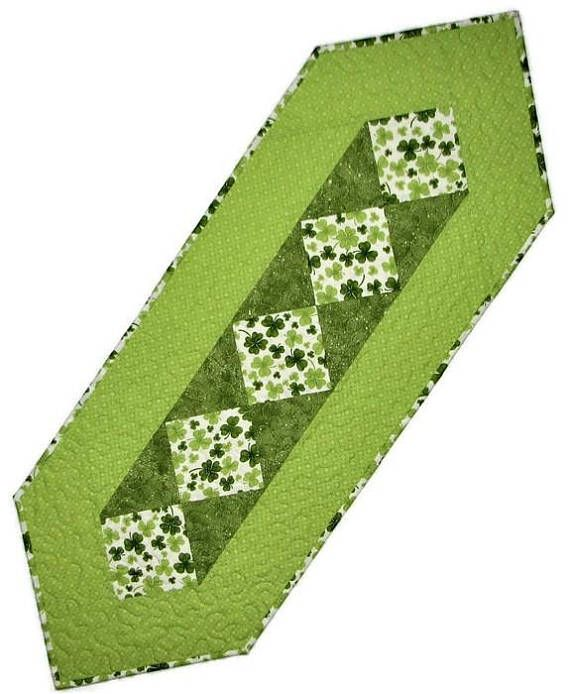 St. Patrick's Day Quilted Table Runner Shamrock Table