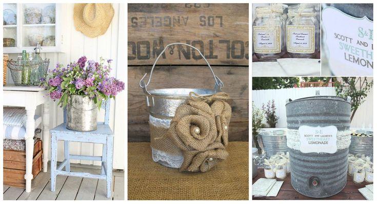 Idee romantiche per arredare la casa con secchi e vasetti