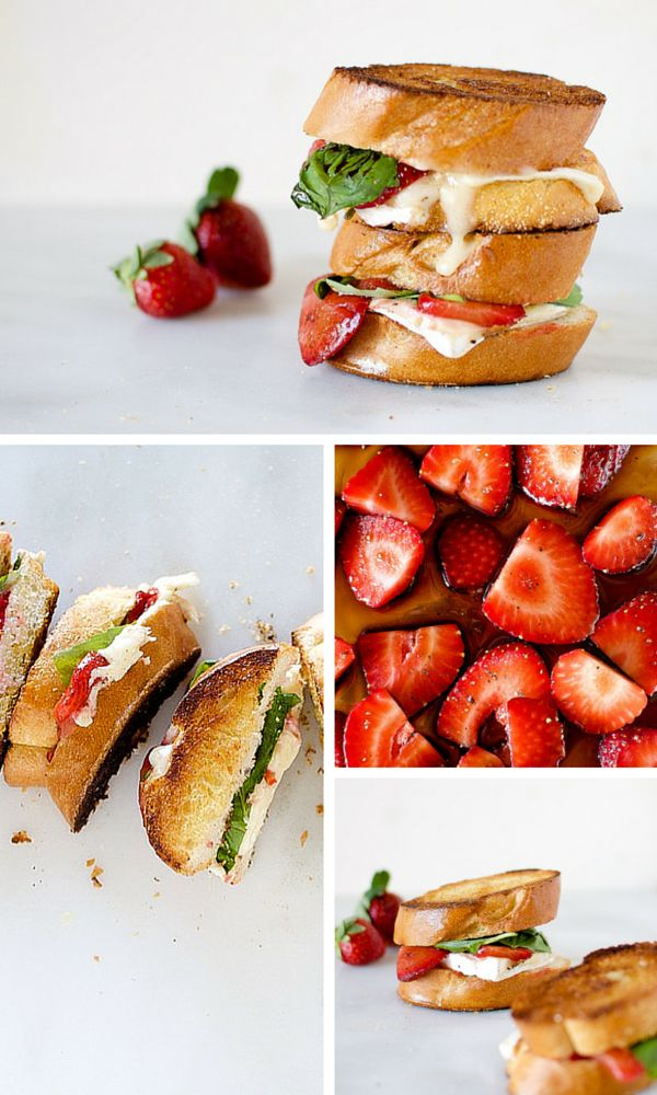 Balsamic Roasted Strawberry and Basil Grilled Cheese