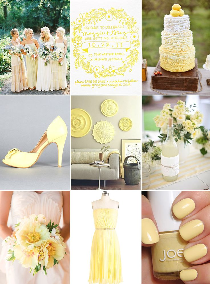 Pale yellow wedding inspiration board…Don't forget yellow personalized napkins to match your theme! #yellow #wedding www.napkinspersonalized.com
