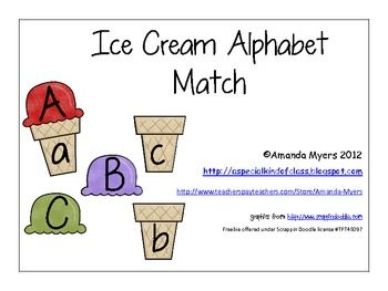 Match the ice cream to the correct cone.  Works on matching the upper case to the lower case letter.  Perfect for literacy centers or work stations...Literacy Center