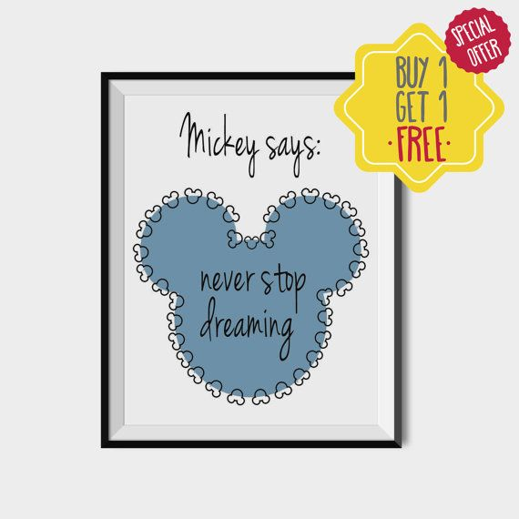 Mickey mouse poster, Disney printable, Disney quote, Disney gift, Mickey boy,Instant disney colors poster,Mickey mouse printable,Blue mickey