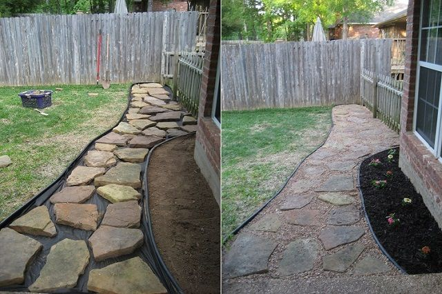 25 best ideas about backyard walkway on pinterest for Cheap ways to make a bed frame