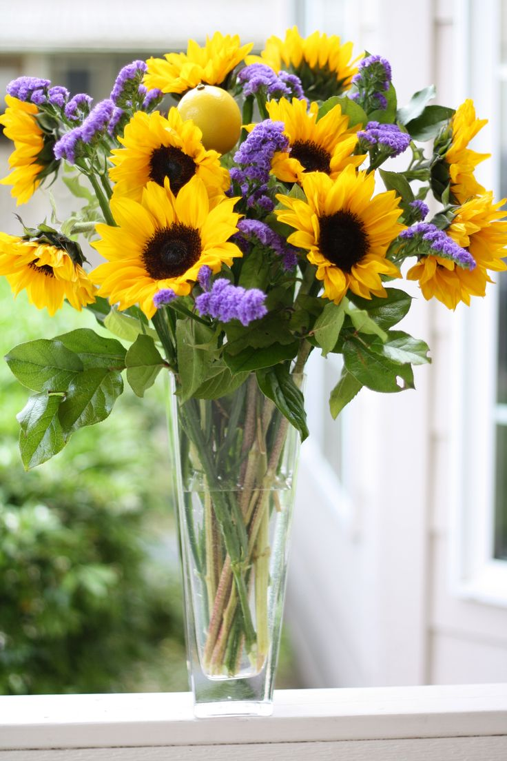 Sunflower lemon tall vase centerpieces pinterest