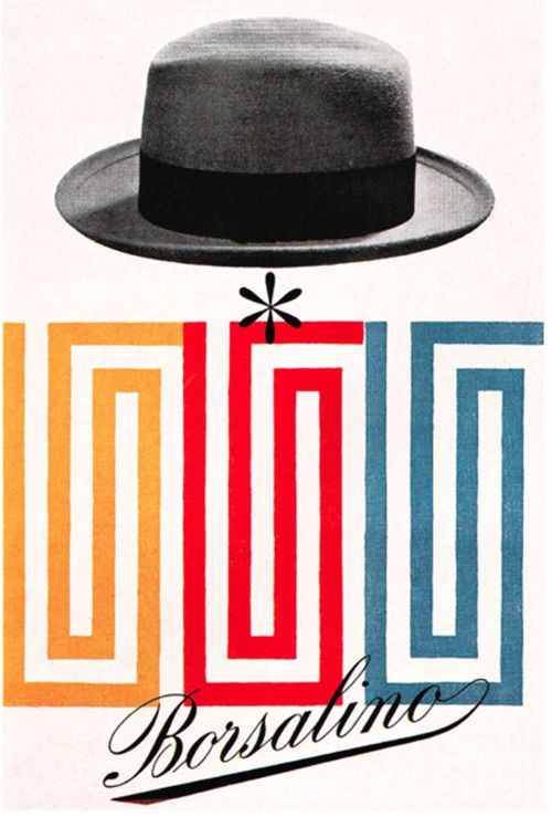 Max Huber Illustration.   Advertising poster for Borsalino, the famous Italian hat manufacturer.  From Gebruachsgraphik No. 5, 1955.