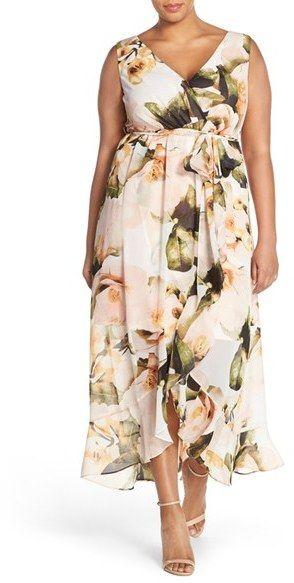 Plus Size Floral Faux Wrap Maxi Dress