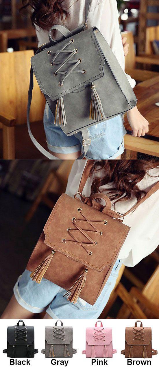Retro Tassels Flap Square Weave Gray Leisure Girl's Cross Bandage Travel Backpack for big sale ! #tassel #retro #square #Backpack #Bag