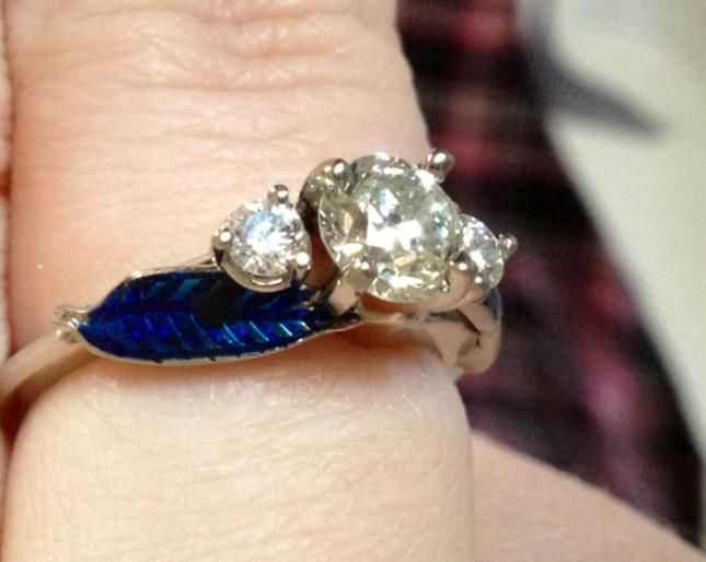 "Wedding Ring with a ""Blue Feather"" - based of Harvest Moon Game proposal!"