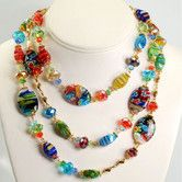 Found it at Wayfair - Millefiori Candy Glass Oval Necklace