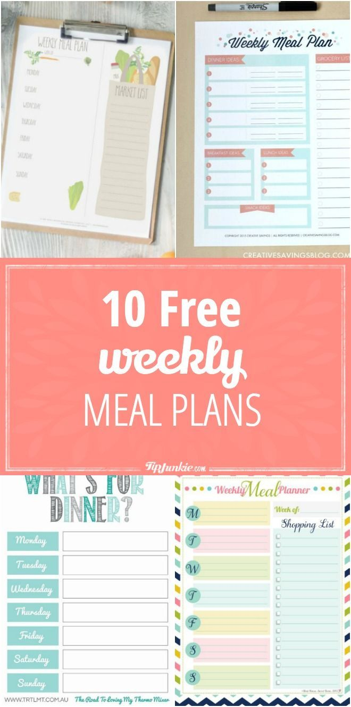 10 Free Weekly Meal Plans