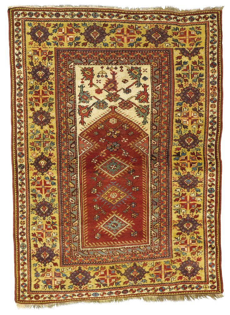Melas prayer rug, Southwest Anatolia  approximately 5ft. 2in. by 3ft. 9in. (1.57 by 1.14m.)  last quarter 19th century I Sotheby's