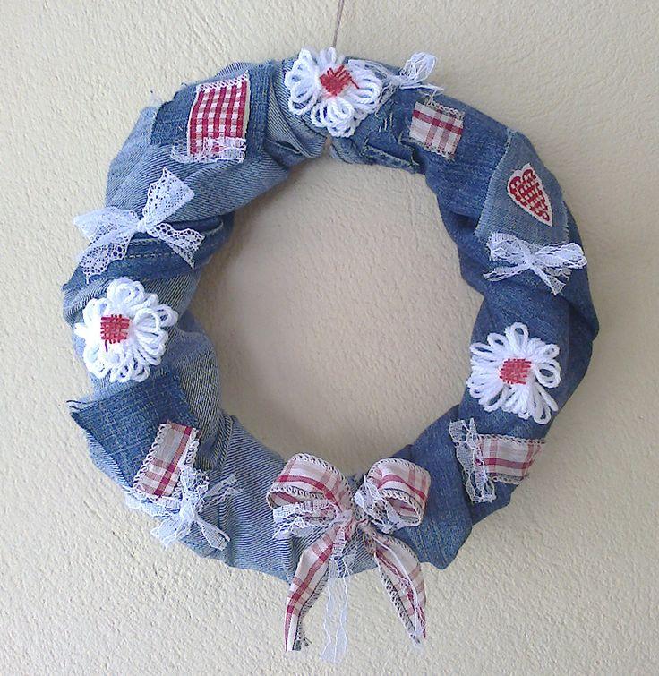 Blue jean, spring wreath