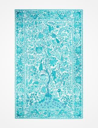 AQUA TREE duk turkos   Tablecloth   Tablelinen   Kökstextil   Inredning   INDISKA Shop Online