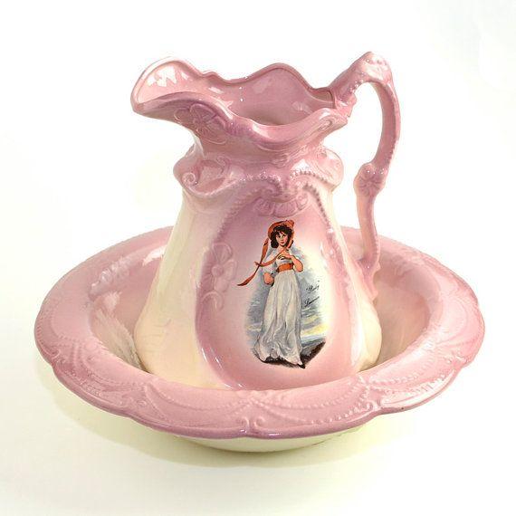 Vintage Antique Pink Pitcher & Wash Basin Bowl Set Pinky Lawrence Portrait,