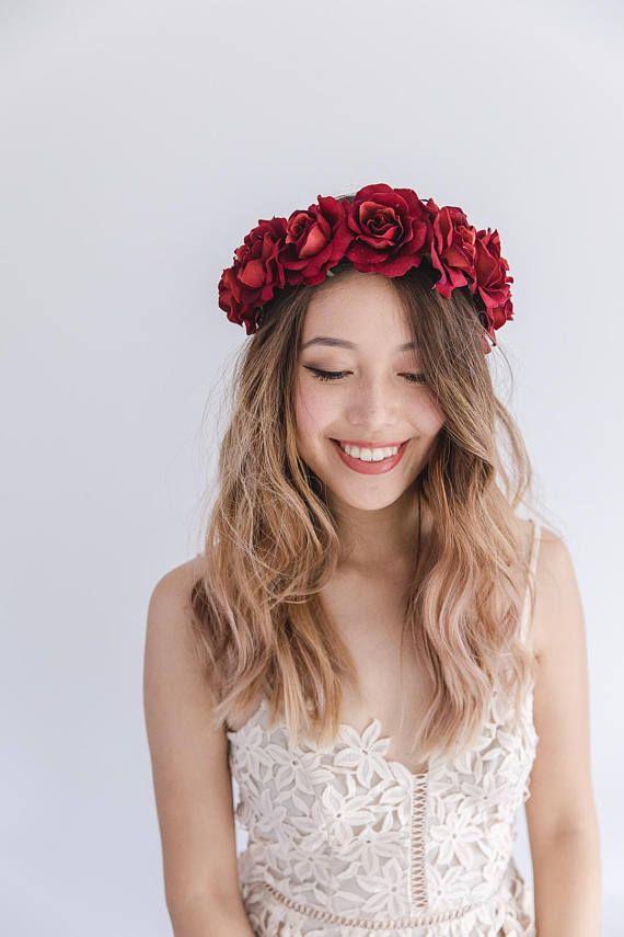 flower crown for adult Red flower crown wedding bohemian flower wreath large floral crown