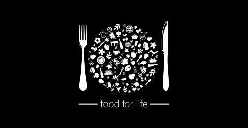 Nice play on words that incorporates a lot of different ideas without being too overwhelming. All of the smaller pictures in the center are parts of life and they form the shape of a plate, ann idea central to the food industry.