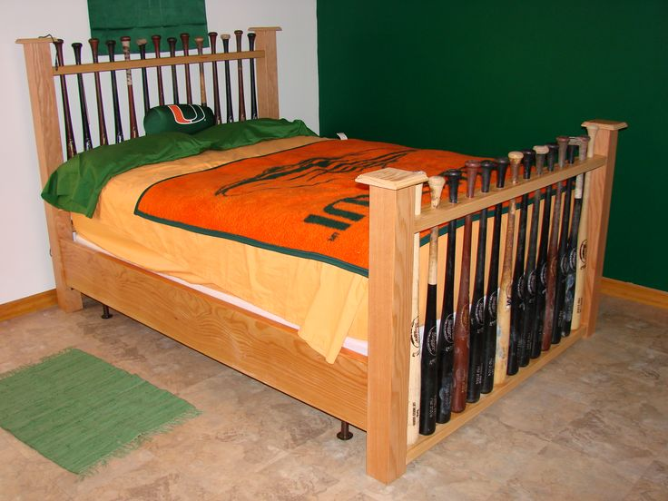 Baseball Bat Headboard Custom Made Baseball Bat Bed