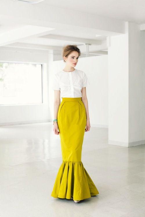 chartreuse mermaid skirt!