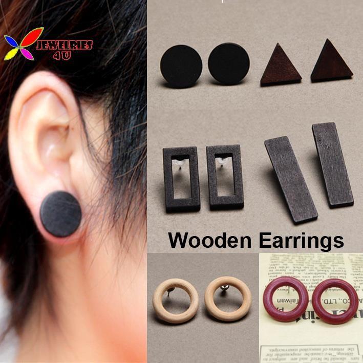 2015 neue heiße holz ohrringe mode designer schwarze dreieck circel rechteck geometrische ohrstecker earing für frauen bijoux brincos