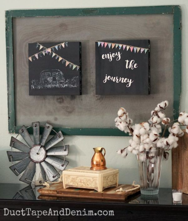 Ann Tatum created these Enjoy the journey stenciled vintage camper trailer signs for the StencilGirl Walnut Hollow blog hop.