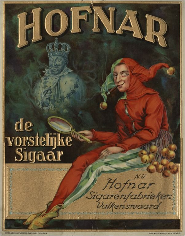 Reclameplaat van de N.V. Hofnar Sigarenfabrieken Valkenswaard 1925