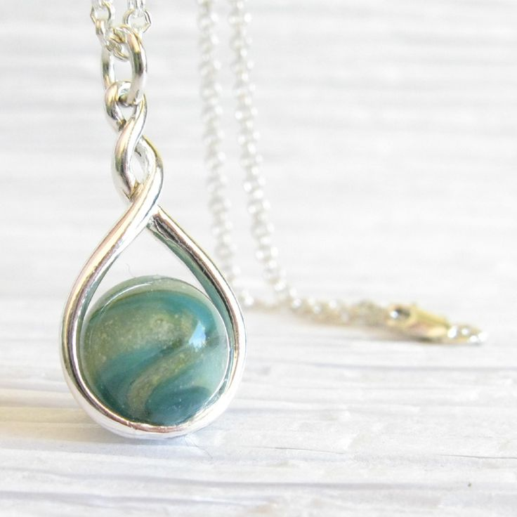 Eternity ~ Glass cremation jewelry sterling silver pendant necklace 2.jpg