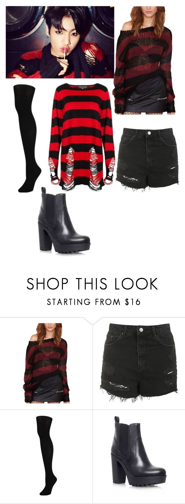 """Jungkook Inspired Outfit from BTS' 'War of Hormones'"" by kaisper ❤ liked on Polyvore featuring Killstar, Topshop, Hue, KG Kurt Geiger, bts, jungkook and kpopinspired"