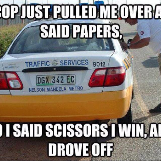 Traffic humor hehehe #scissorsbeatspaper