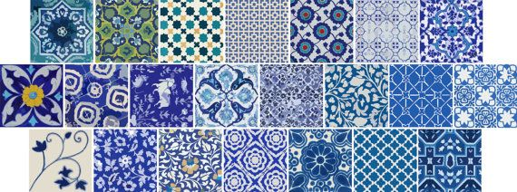 Kitchen/Bathroom Indian Jaipur Blue pottery tile/wall by Bleucoin