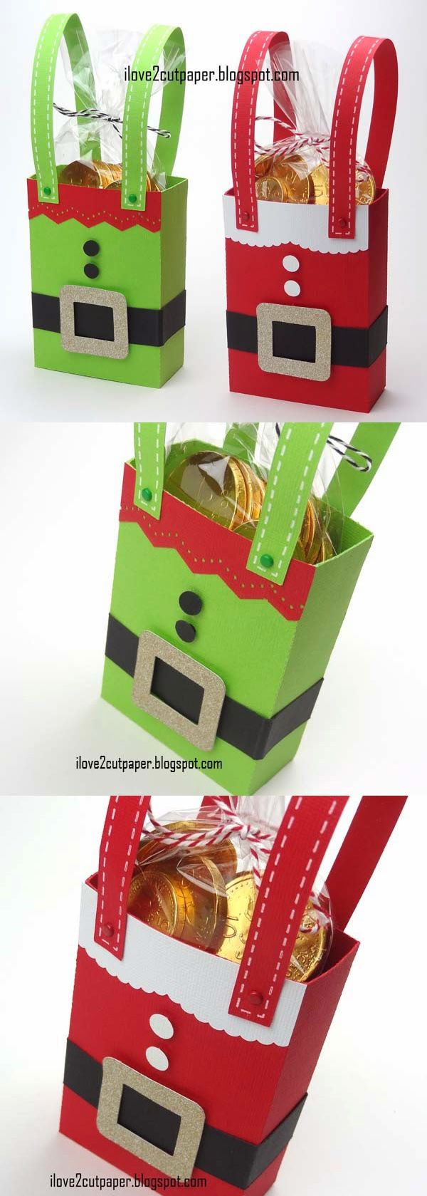 Santa and Elf gift bags - such a lovely handmade idea to wrap a special Christmas present!