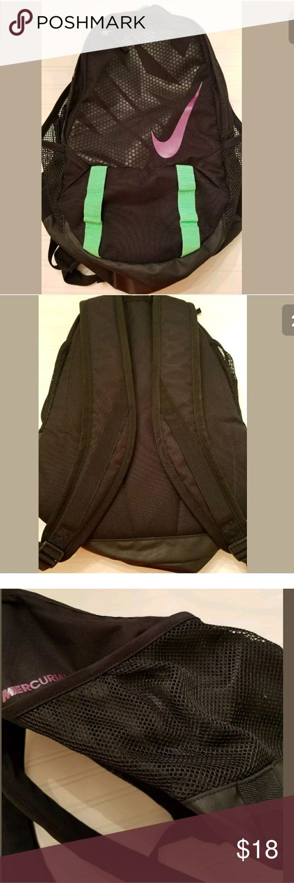 Nike Soccer or Basketball Backpack Gently used. Measures approximately 17 high and 15 inches at widest point. Machine washable. Fresly washed. Small insignificant scuff marks on the bottom please see last picture. Great working order no tears. Nike Bags Backpacks