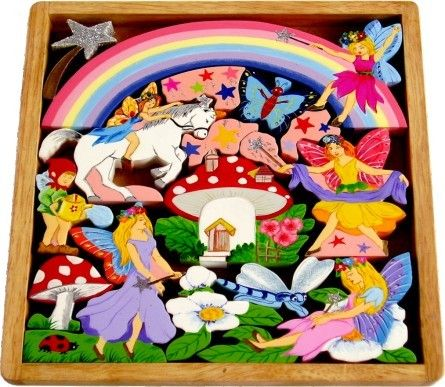 Artiwood Fairy Play Tray - Tumble & Roll Educational Toys. This beautifully crafted play tray features a magical scene with fairies, unicorn, rainbow and stars to provide hours of imaginative play.$39.00 #educationaltoys #puzzles #kidspuzzles #toys