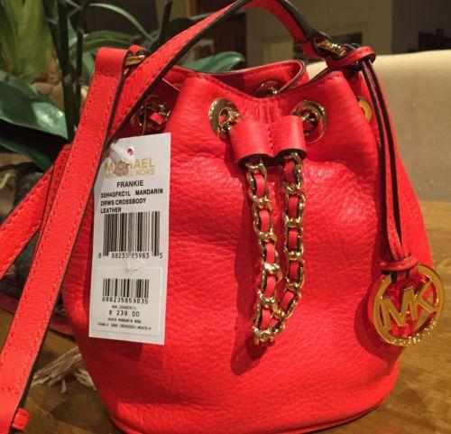 NWT-GENUINE-Michael-Kors-mini-FRANKIE-drawstring-bag-leather-mandarin-red
