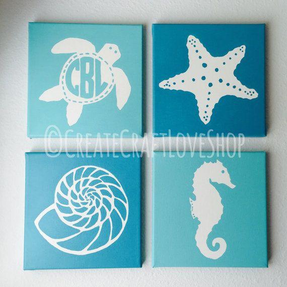 Items similar to Set of 4 Nautical Canvas Paintings // Nautical Nursery Decor // Monogram // Custom Decor // Childrens Decor // Tropical Decor // Silhouettes on Etsy