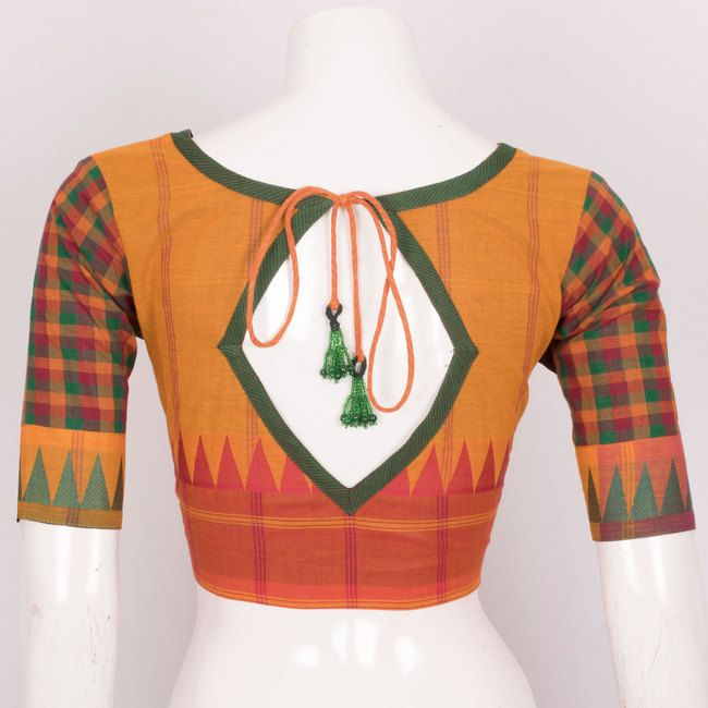 Hand Crafted Cotton Blouse With Tie-Up Back Beads & Lining 10019598 Size - 40 - AVISHYA.COM