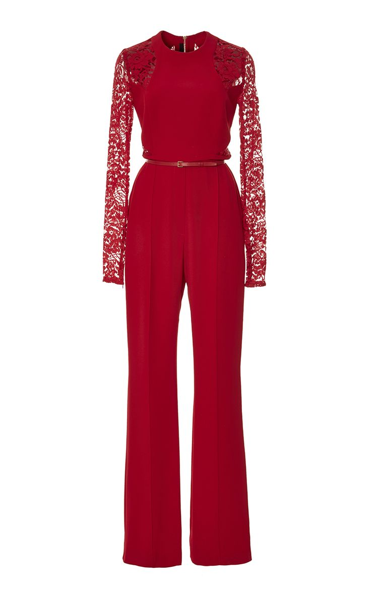Crepe Cady And Lace Jumpsuit by Elie Saab for Preorder on Moda Operandi