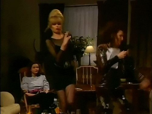[An animated gif of Patsy and Edina dancing while karaoke-ing, as Saffron looks on, long-suffering]    Yes.