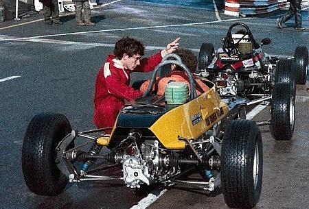 Formula Ford 1600 Ayrton Senna da Silva (BRA) Van Diemen R81 explains something to his mechanic. Townsend Thoresen Formula Ford 1600 Championship, England, 1981.