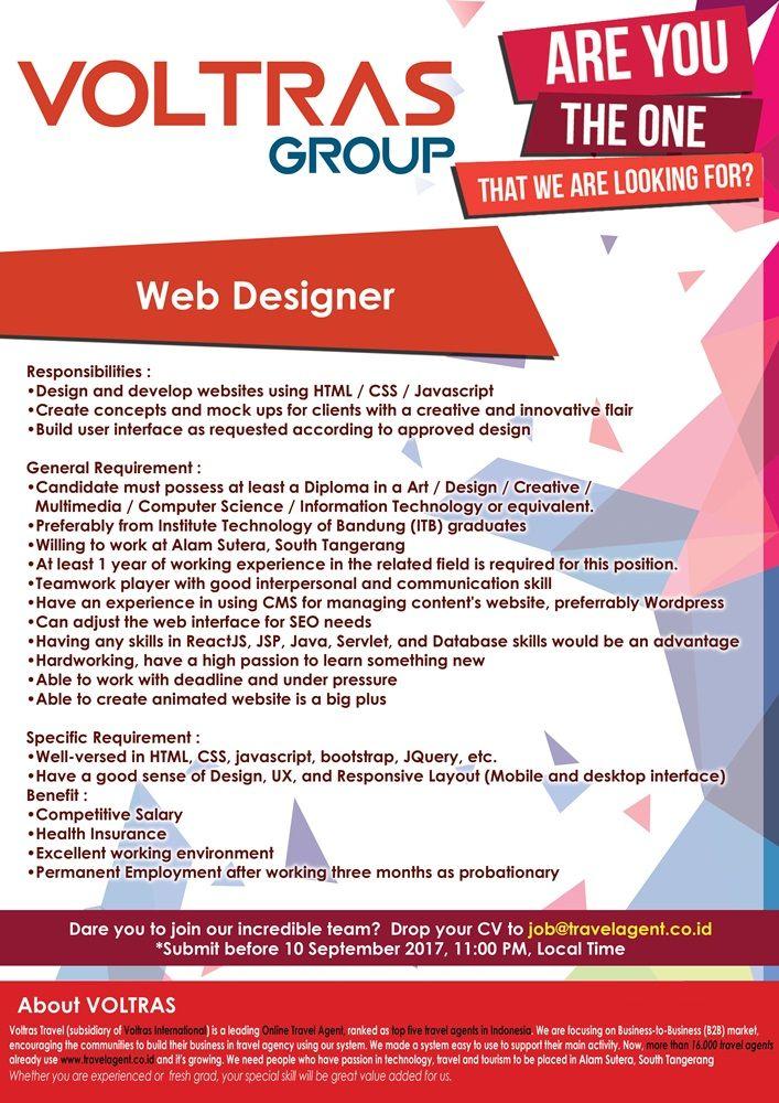 OPEN!  4 #vacancy as Analyst, Programmer, Designer, Quality Assurance from Voltras Group >> http://bit.ly/2fuBzMB   DEADLINE: 10 September 2017 #itbcc #karirITB #ITBcareer