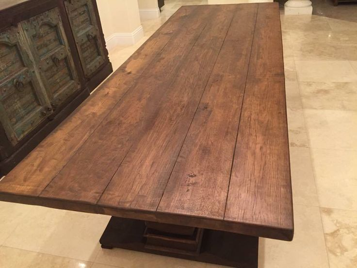 Reclaimed Hickory Table Top Stained Table Farmhouse