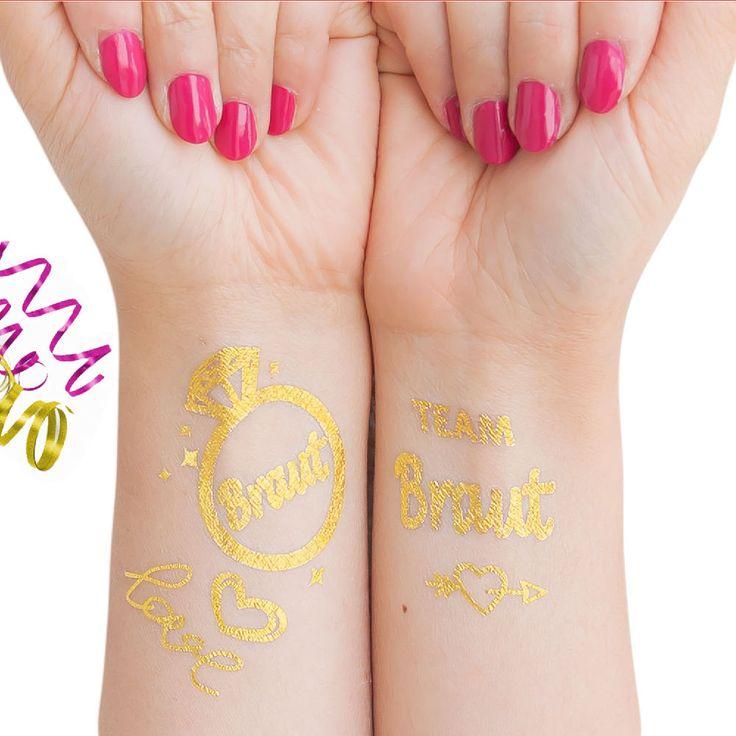 Temporäre Klebetattoos Tattoo Set Junggesellinnenabschied jga - Braut - Team Braut in Feierlichkeiten / Anlässe   • Hochzeit • Tattoos Junggesellinnenabschied