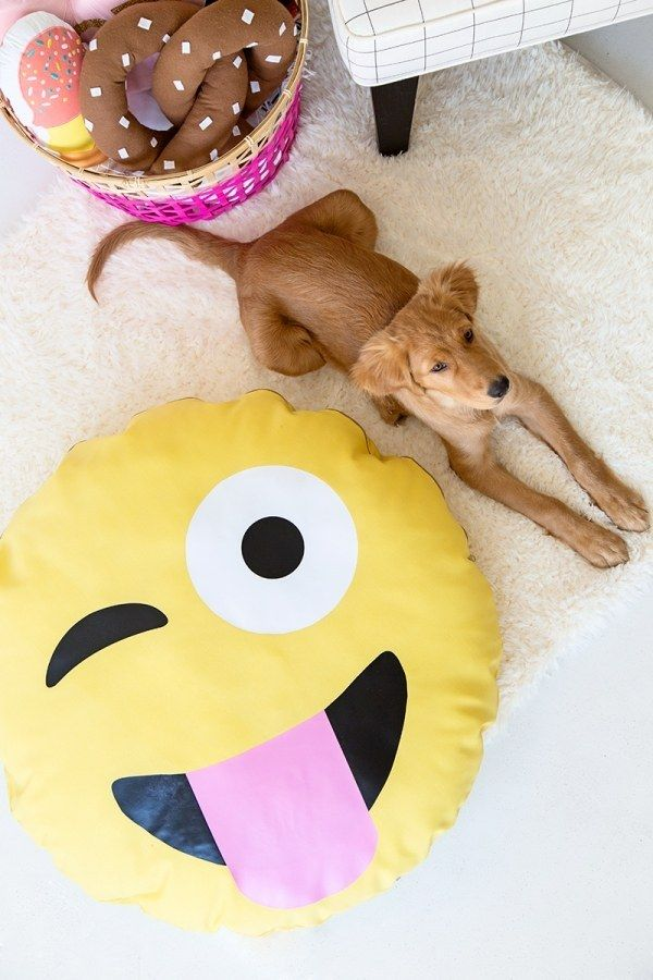 Top a dog bed with your favorite emoji face. | 25 Insanely Cute DIY Projects That Will Make You Smile