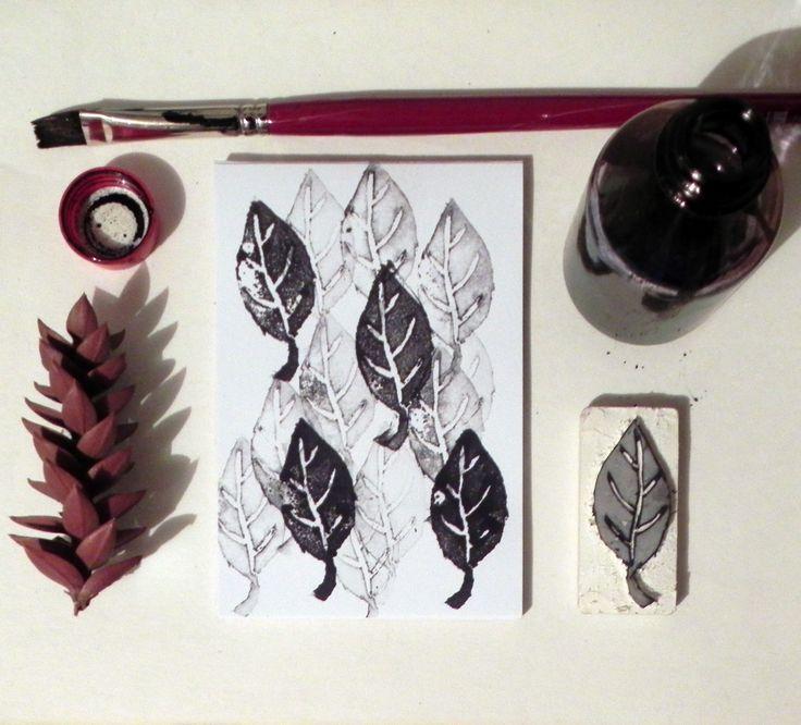 sello de goma  forma de hoja tinta de impresion