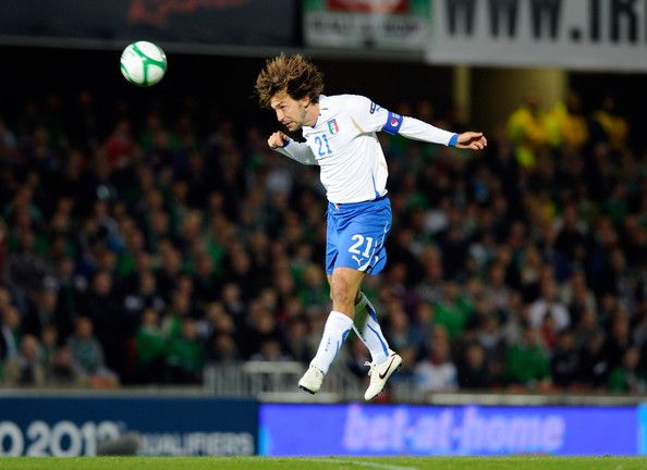 Andrea Pirlo of Italy heads the ball during the Euro 2012 group C qualifying match between Northern Ireland and Italy on October 8, 2010 in Belfast, Northern Ireland. - 50 of 95
