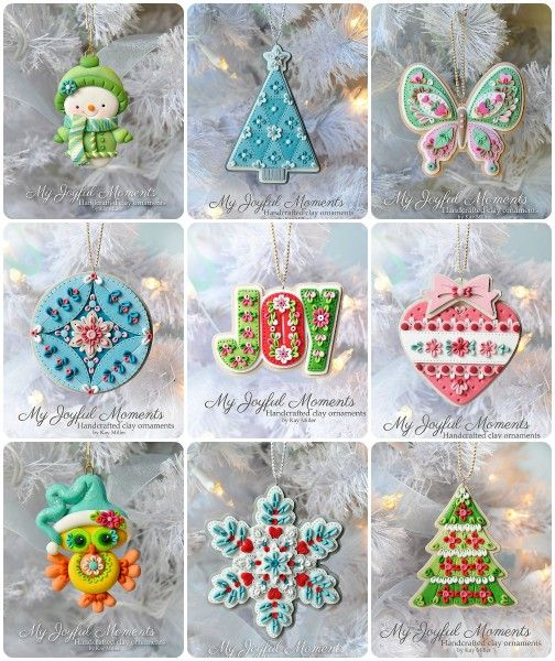Handcrafted Polymer Clay Ornaments Collection by Kay Miller.