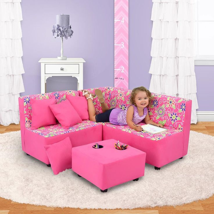 Kids pink corner sofa  «A sweet place to chill and relax💖You can find this adorable sectional and other cute products in my…»