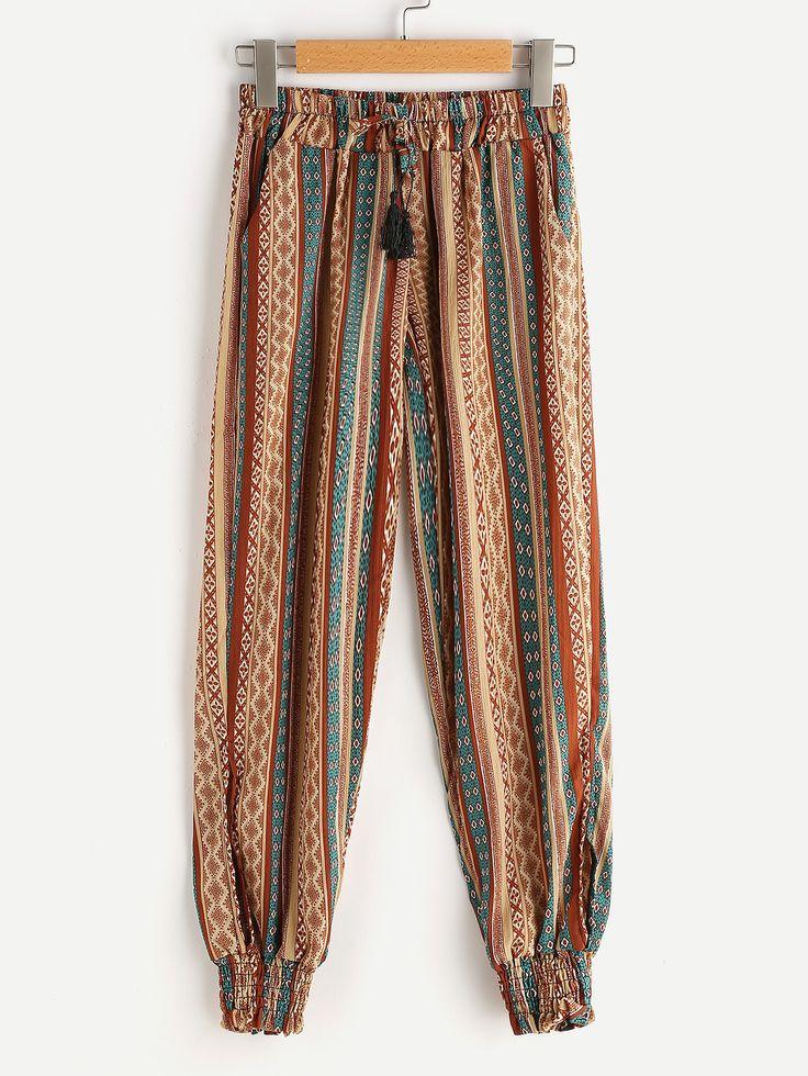 Pantalons avec cordon de taille imprimé Aztec-French SheIn(Sheinside)