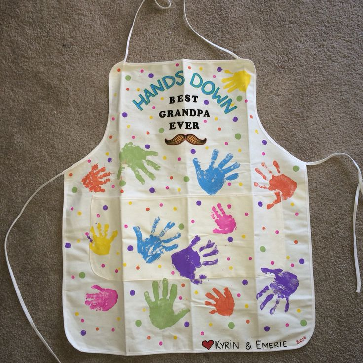 Christmas gifts for grandparents. Made an apron for grandpa with the kids' handprints/ iron on letters and mustache .ank.
